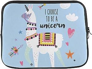 INTERESTPRINT Laptop Sleeve Case Cover Cute Cartoon Llama Alpaca with Unicorn Horn Notebook Computer Pouch Bag 15.4 Inch 15.6 Inch