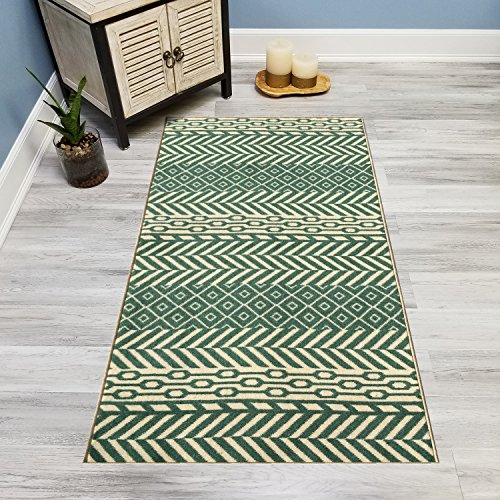 Your Choice Length Teal & Ivory Traditional Kilim Non-Slip Rubber Backed Carpet Runner Rug | 31-inch x 23-feet