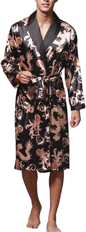 Albornoz para Hombre Spinning Seda Kimono Manga Larga Robe Longo ...