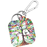 Fintie Case with Carabiner Keychain for Tile Mate (2016 & 2018)/ Tile Pro/Tile Sport/Tile Style Key Finder Phone Finder, Anti-Scratch Vegan Leather Protective Skin Cover with Speaker Cutout, Love Tree