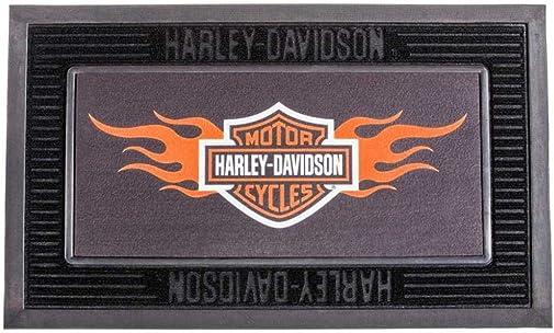 HARLEY-DAVIDSON Entry Floor Mat, Flame Bar Shield Kitted Set, Black P14004901