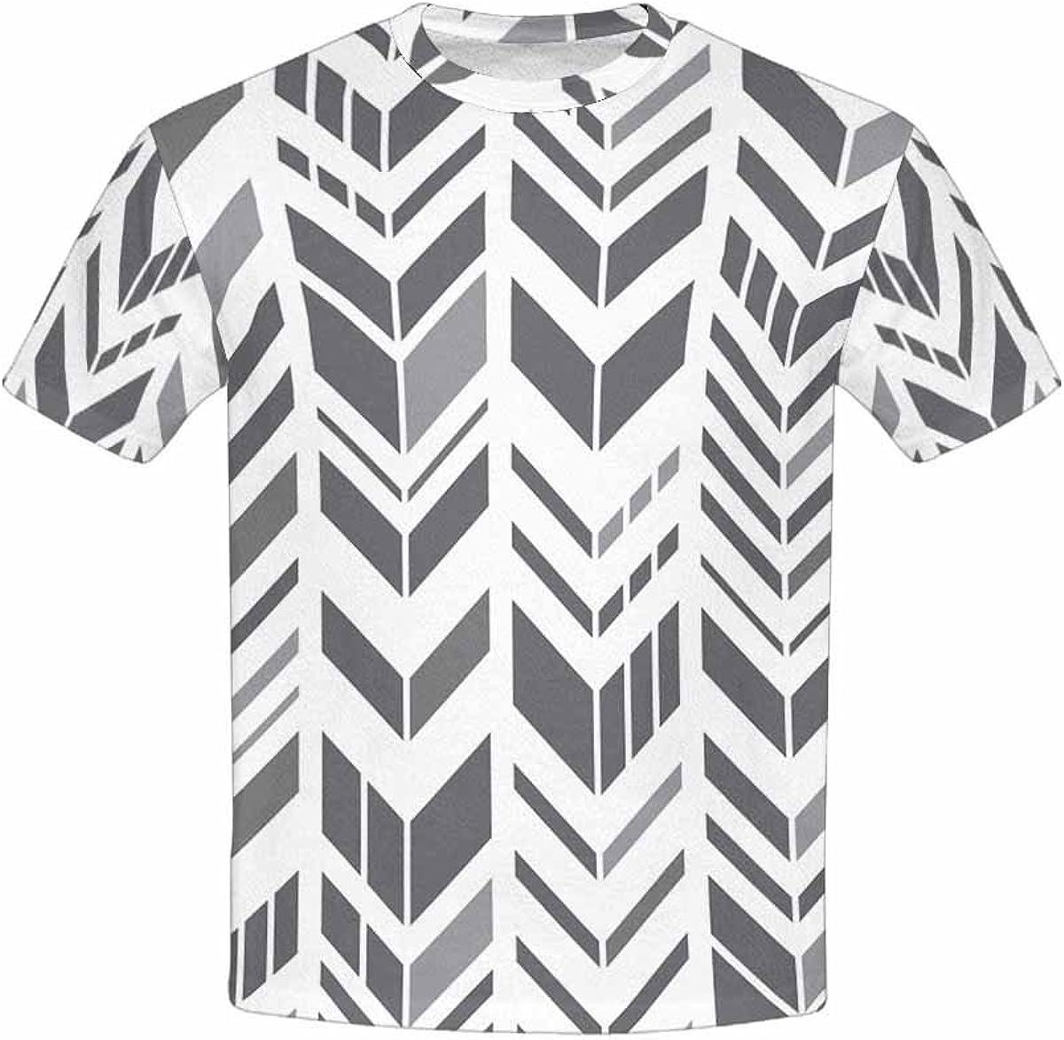 INTERESTPRINT Kids T-Shirt Geometric Zigzag Pattern Gray Chevrons XS-XL