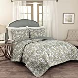 Traditions by Waverly 15279BEDDKNGSPA Tulip Toile 104-Inch by 90-Inch 3-Piece King Quilt Collection, Spa