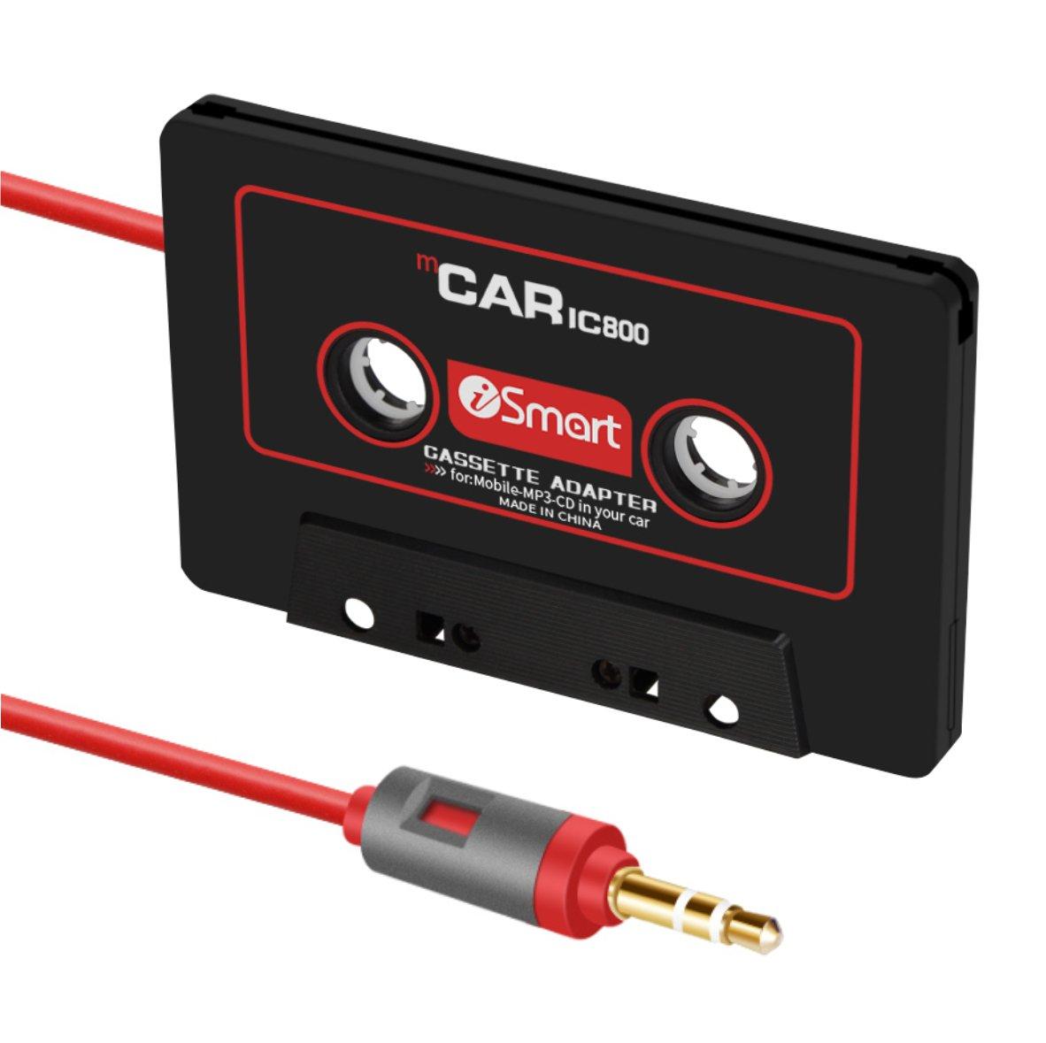 autoec Auto Audio Tape Kassette Adapter fü r iPhone iPad iPod MP3 Player CD-Radio Nano, 3 m Lang Kabel 3,5 mm, Reisen Kassette Adapter fü r Autos –  Schwarz