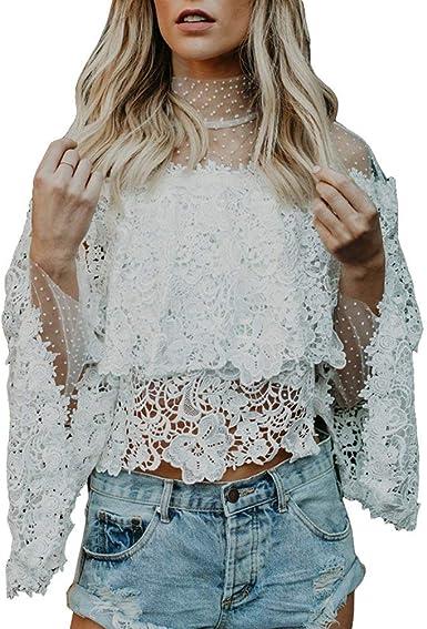 Camisa De Mujer con La De Camisa Encaje De Camiseta Encaje Años 20 De Verano Hollow Flower Tops Blusa De Encaje De La Manera Elegante Blusas: Amazon.es: Ropa y accesorios