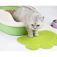 Pawaca Alfombrilla antideslizante para arena de gato – 3 bonitos patrones a elegir, resistente al agua, duradera alfombra para arena de gato sin BPA, control de dispersión, fácil de limpiar