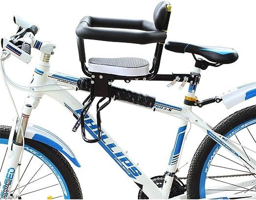 Asiento de bicicleta para niños,, Montura delantera desmontable, Portador de niños, Deporte Bicicletas de montaña Asientos Cojín de silla de montar con pedal para niños de 8 meses a 7 años: Amazon.es: