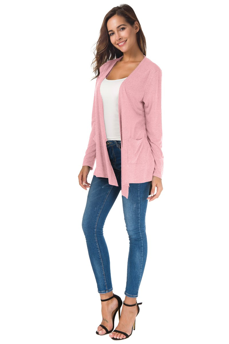 NB Women's Extra Soft Natural Classic Long Sleeve Irregular Hem Open Drape Style Cardigan Pocket (Pink, XL) by NB (Image #6)
