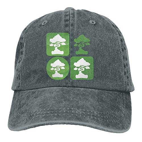 Bonsai Tree Icon Washed Vintage Adjustable Jeans Cap Baseball Caps For Man And Woman