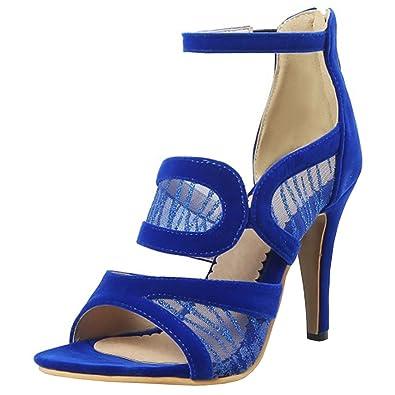UH Damen High Heels Stiletto Sandalen Offene Toe Sandaletten Schuhe mit Riemchen Nieten Modisch Schuhe Sandaletten d10284