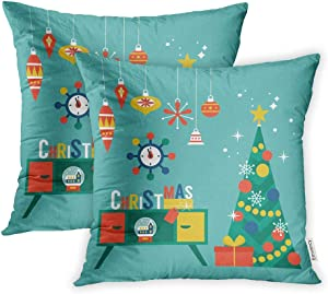 Emvency Set of 2 Decorative Throw Pillow Case Cushion Cover Flat Modern Creative Christmas Design with Tree and Mid Century Furniture Xmas 20x20 Inch Cases Square Pillowcases Covers Two Sides Print