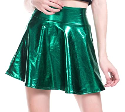 e36d27f1084 Vinyst Women's Exotic Club Cocktail Satin Fit and Flare Mini Skirt ...