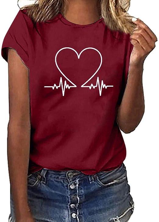 Vestidos de Fiesta Mujer Cortos Elegantes Vestido de la Camisa Floja de Las Mujeres de Moda Manga Corta Camiseta con Estampado de Corazones Top Casual con Cuello en O (Medium, Vino): Amazon.es: