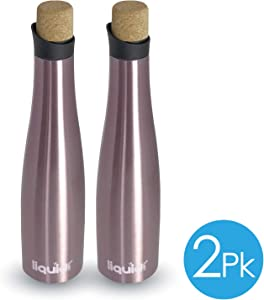 Double Wall Insulated 750mL Leakproof Travel Wine and Water Carafe 2 PACK Keeps A Whole Bottle of Wine Cold Up To 12 Hours. Stainless Steel Vacuum Sealed To Retain Fizz