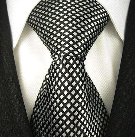 Black Silver Tie - Neckties By Scott Allan - Black and Silver Neckties (Diamond)