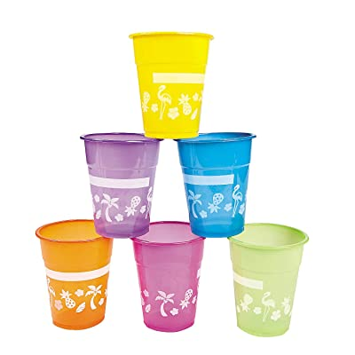 Fun Express Disposable Luau Cups (50 Cups) Bright Colors - Holds 16 oz: Toys & Games
