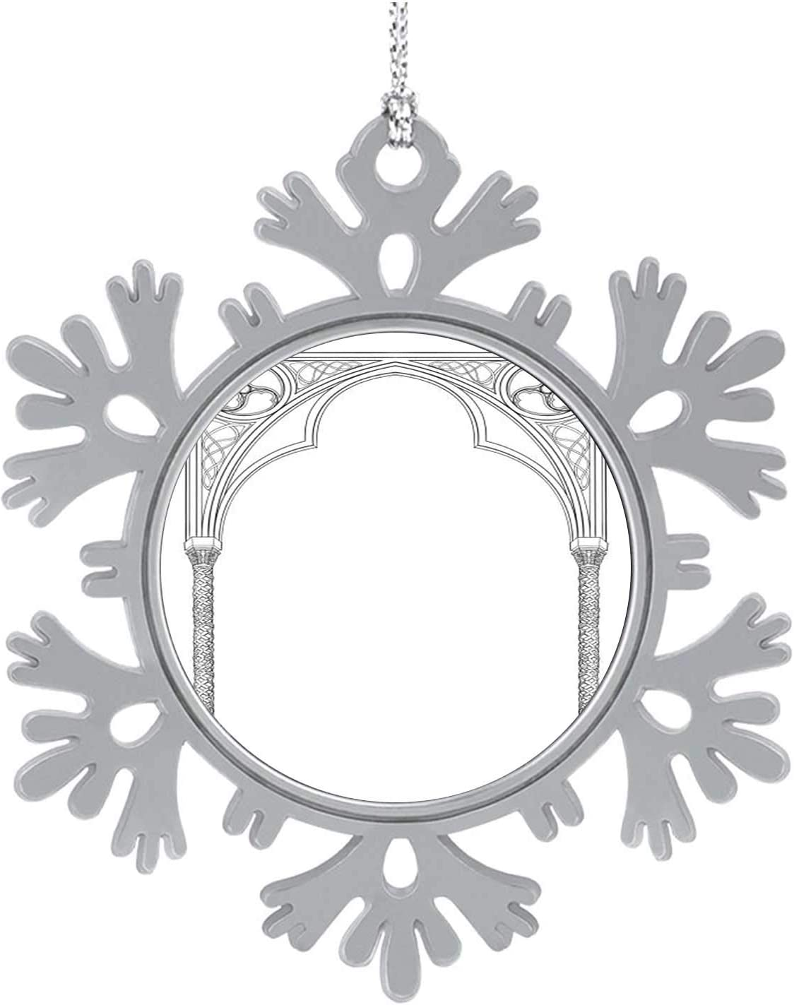 C COABALLA Medieval Manuscript Style Rectangular Frame.Gothic Pointed Arch.- - Russia,Silver Snowflakes & Snowflakes Hanging New Year Party Home Decoration Architecture 5PCS