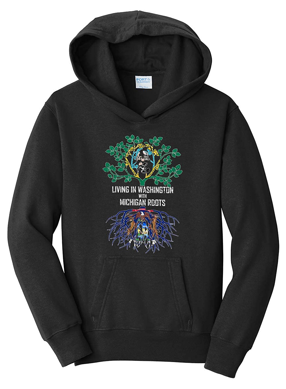 Tenacitee Girls Living in Washington with Michigan Roots Hooded Sweatshirt