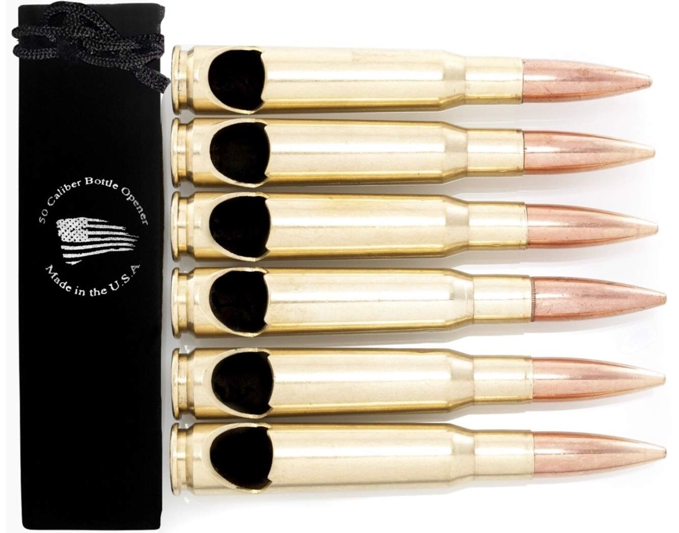 50 Caliber BMG Real Bullet Bottle Opener - Set of 6 - Made in the USA