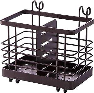 Hanging Metal Mesh Utensil Drying Rack, 2 Compartments Draining Basket for Chopsticks Spoon Fork Knife Holder Coffee