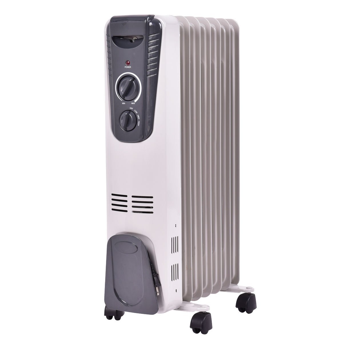 TANGKULA Electric Oil Filled Radiator Heater Portable Home Room Radiant Heater (White 1500W)