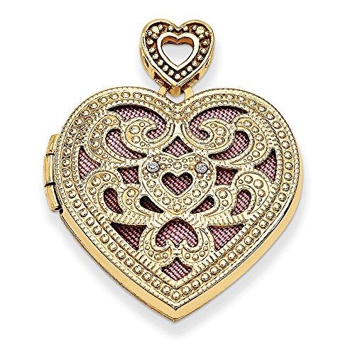 14k Yellow Gold 24mm Heart With Diamond Vintage Locket ()