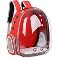 Carise Travel Space Backpack Breathable Transparent Capsule Pet Cat Puppy Carrier Bag (Red)