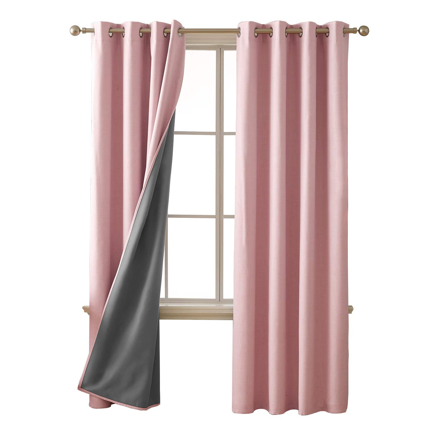 Deconovo Total Blackout Curtains with 3 Pass Energy Efficient Thermal Insulated Coating Faux Linen Room Darkening Pink Curtains for Dining Room 52 x 95 Inch Length Set of 2 Curtain Panels Pink