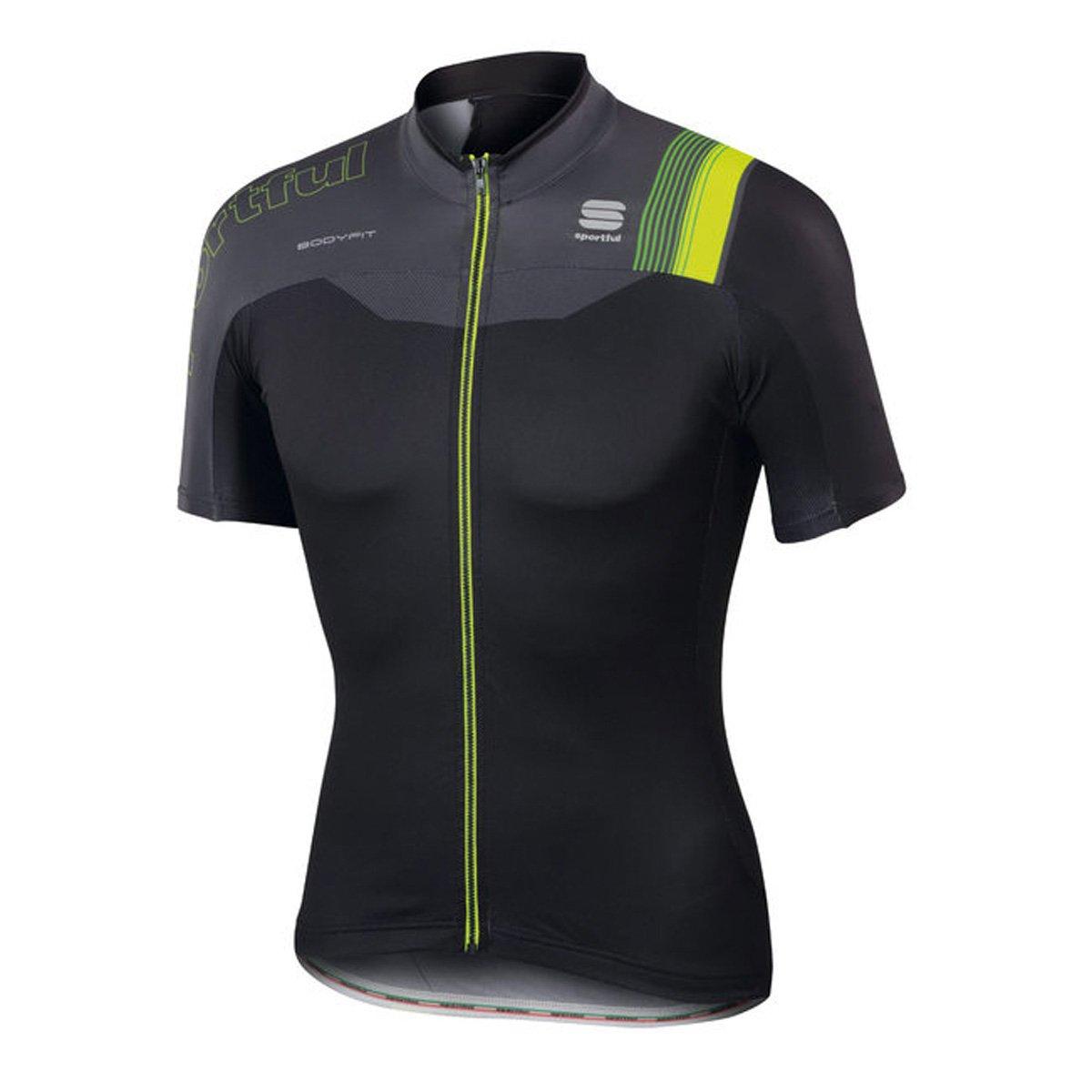 SportfulメンズBodyfit Pro Team半袖サイクリングジャージー – a1101727 Medium black/anthracite-yellow fluo B06XHWDK4Y