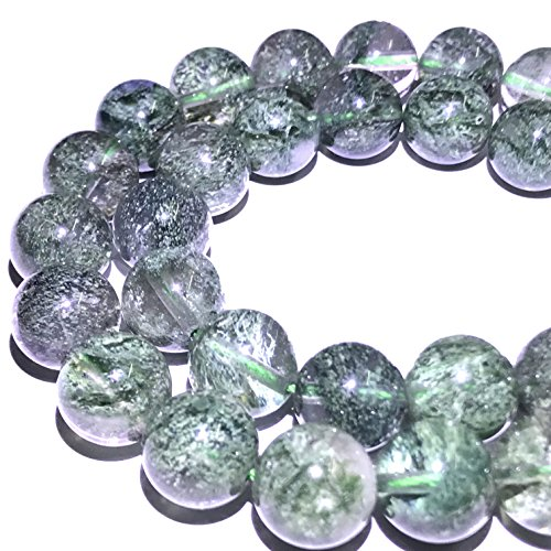 [ABCgems] Rare Brazilian Green Actinolated Quartz AKA Moss Rutilated Quartz (Beautiful Inclusions- Grade AA) 6mm Tiny Smooth Round Beads for Jewelry Making ()