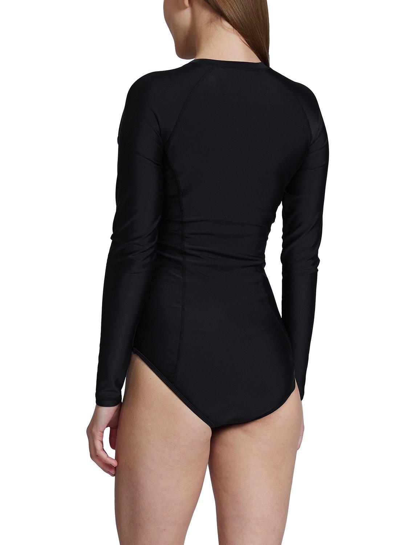 Baleaf Women's Long Sleeve One Piece Sun Protection Rash Guard Rashguard UPF 50+ Swimsuit Black Size S by Baleaf (Image #3)