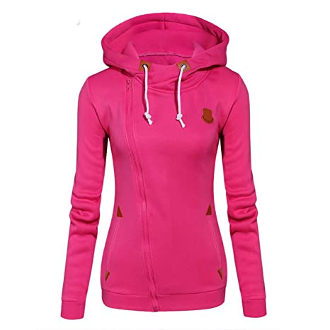 2018 Women Fashion Fleeces Sweatshirts Hooded Candy Colors Solid Sweatshirt Long Sleeve Zip Up Clothing Sudaderas Mujer at Amazon Womens Clothing store: