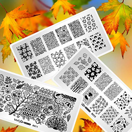 Whats Up Nails - Fall Stamping Plates 3 pack (A011, B021, B033) for Autumn Thanksgiving Day Nail Art Design