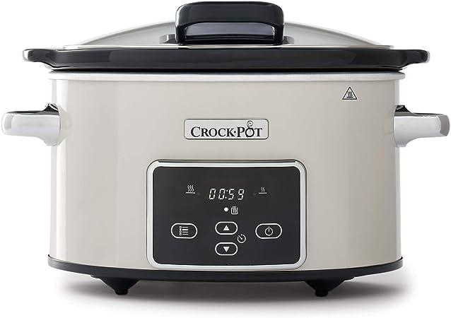 Comprar Crock-Pot CSC060X Olla de cocción lenta digital para preparar todo tipo de recetas, 3.5 litros, Mushroom/Cromado