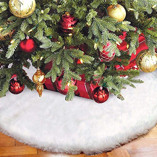 Aytai Christmas Tree Skirt 48 Inch White Faux Fur Christmas Tree Skirt Luxury Tree Skirts for Holiday Decorations