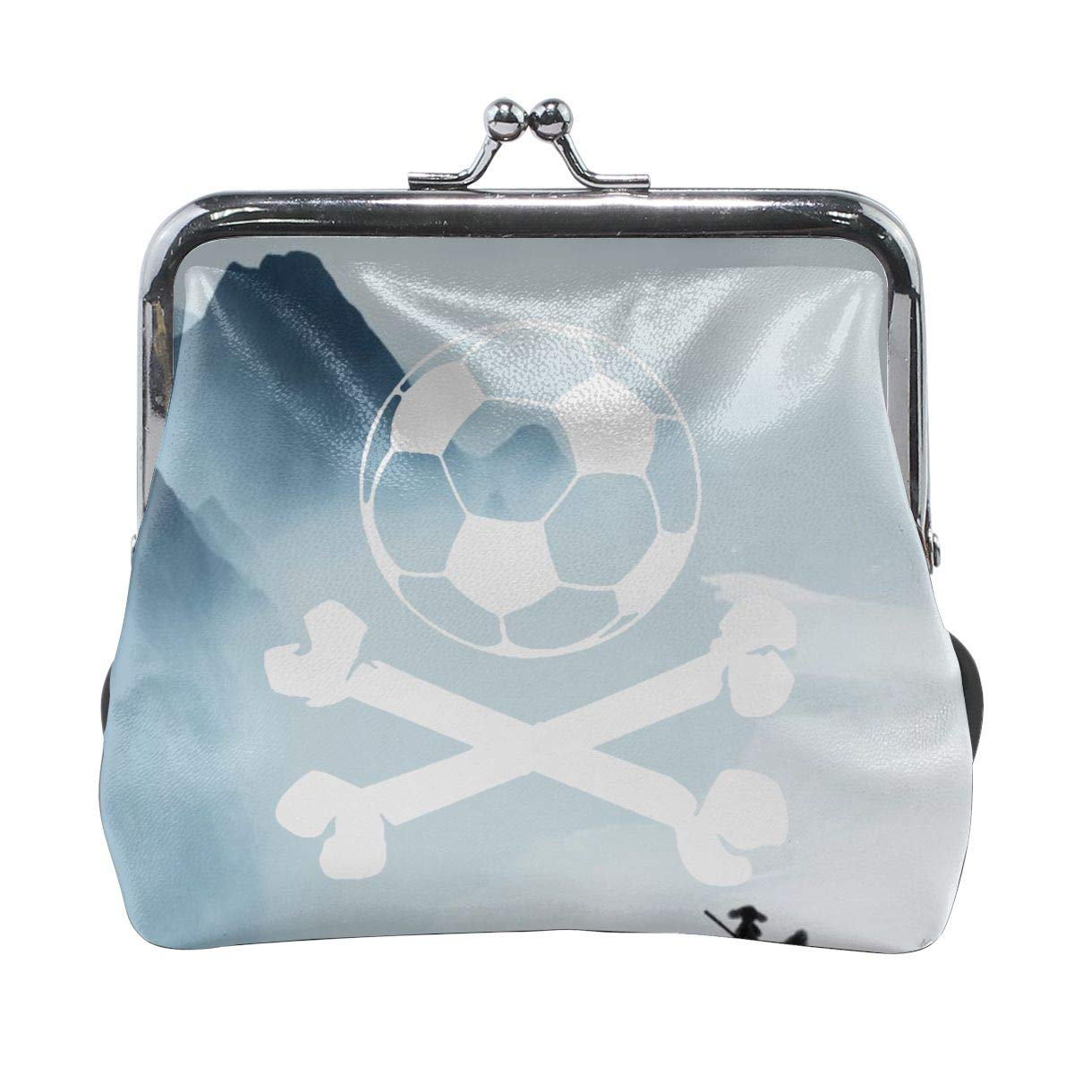 Exquisite Soccer Ball Logo Pirate Skull Cross Bones Cash Buckle Coin Purse For Womens