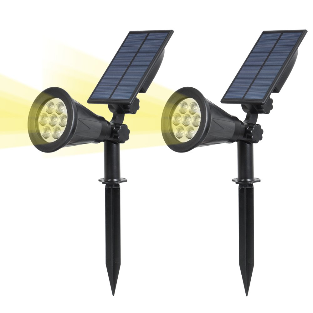 T-SUN Solar Spotlights LED Outdoor Wall Lights, Auto-on at Night/Auto-Off by Day, 180° Angle Adjustable Solar Lights for Tree, Patio, Yard, Garden, Driveway, Pool Area(Yellow- 2 Pack)