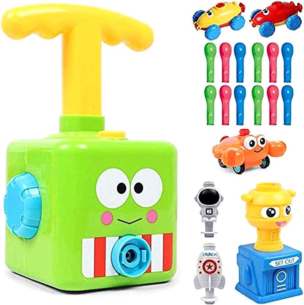 Versión mejorada Juguete lanzador globos para automóvil con globo, juego de lanzador globos para automóvil, inflador de globos, aerodinámica, regalos para niños educativos, (Rana verde)