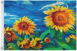 N\ A Modern Style Sunflower Flag 4x6 Outdoor, 4' x 6' Decorative Cloth Flags with Brass Grommets for Outside Yard House Home Garden Patio Party Indoor Banner Decor Large,Polyester