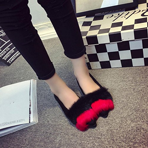 Elevin(TM)Women Fashion Home Slip On Sliders Fluffy Faux Fur Slipper Indoor Outdoor Flip-flops Shoes Red LWU9bHy9ai