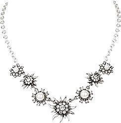 SIX Halskette: Kurze Silberkette mit Edelweiß-Anhängern, weißen Perlen und Strasssteinen, perfekt für JGA/Hochzeit/Oktoberfest, weiß-Silber (730-587)