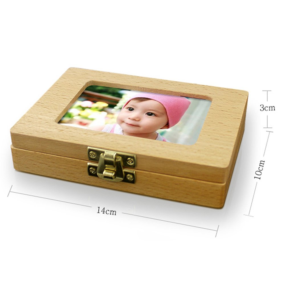 TAMUME Photo Frame Style Beech Wood Teeth Fairy Box with 20 Holes Baby Curl and Teeth Keepsake Box Wooden Baby Keepsake Gift to Cherish Baby Memory (Photo)