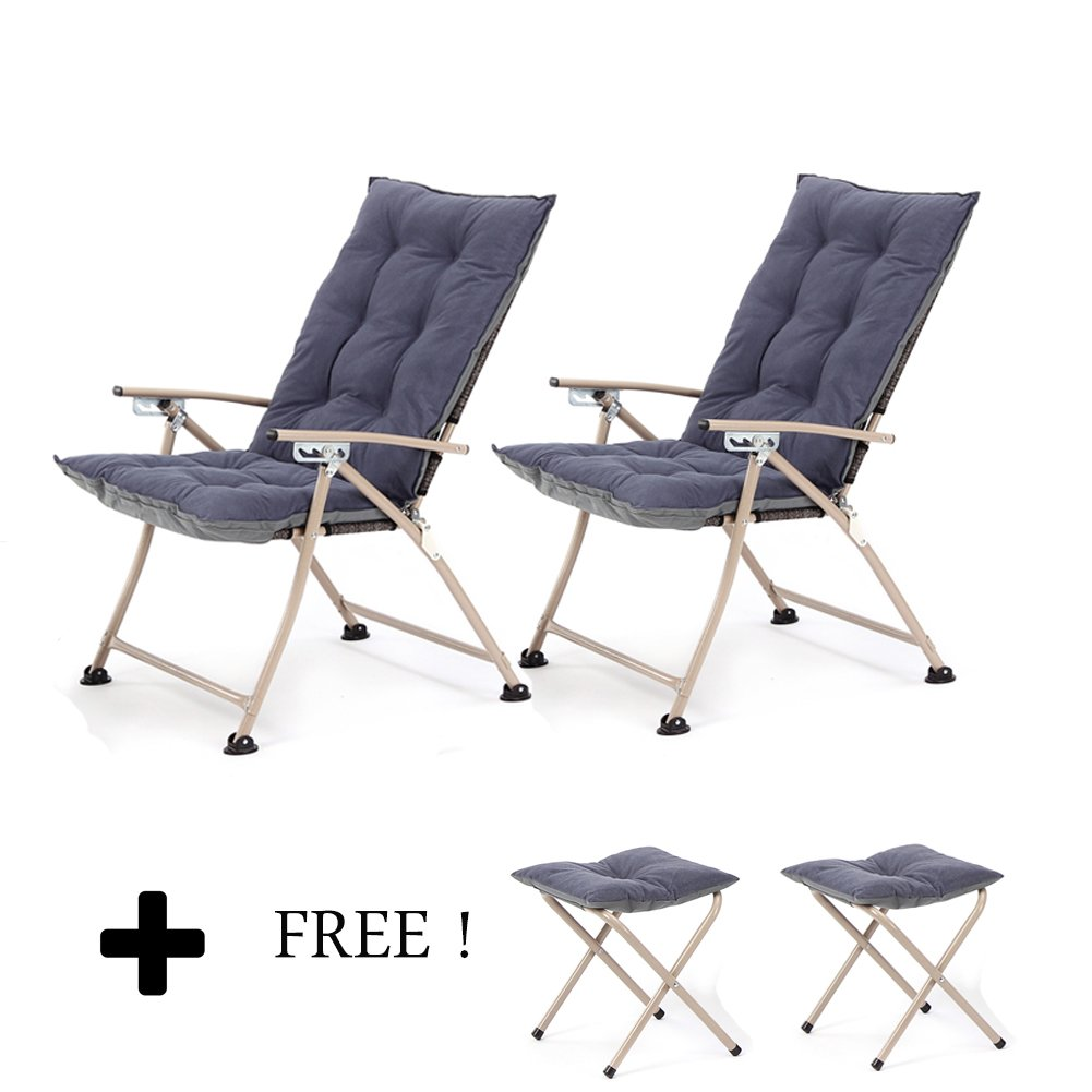 CampLand Deluxe Padded Reclining Chair with footrest Adjustable Camping Fishing Folding Cushion Relax Lazy Chair (Dark Blue, Two packs)