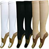 6 Pairs Copper Knee High Compression Support Socks For Women and Men - Best Medical, Nursing, Maternity Pregnancy and Travel Socks - 15-20mmHg