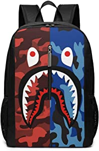 Bape Shark Red Blue Camo Backpacks Lightweight Multi-Function College School Laptop Bookbag Outdoor Back Pack