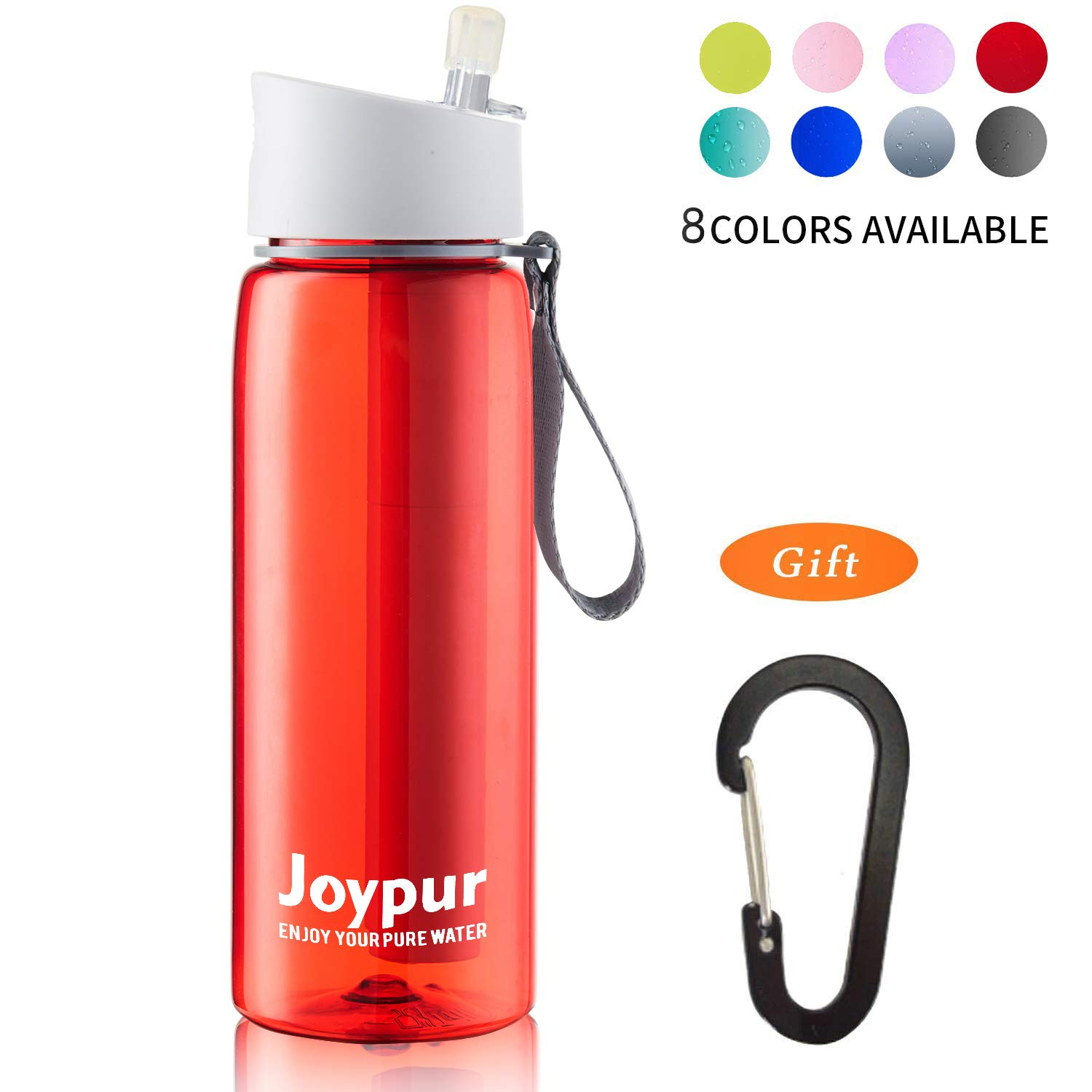 joypur Outdoor Filtered Water Bottle - Camping Water Filter with 3-Stage Integrated Water Purifier for Travel Hiking Backpacking Red by joypur