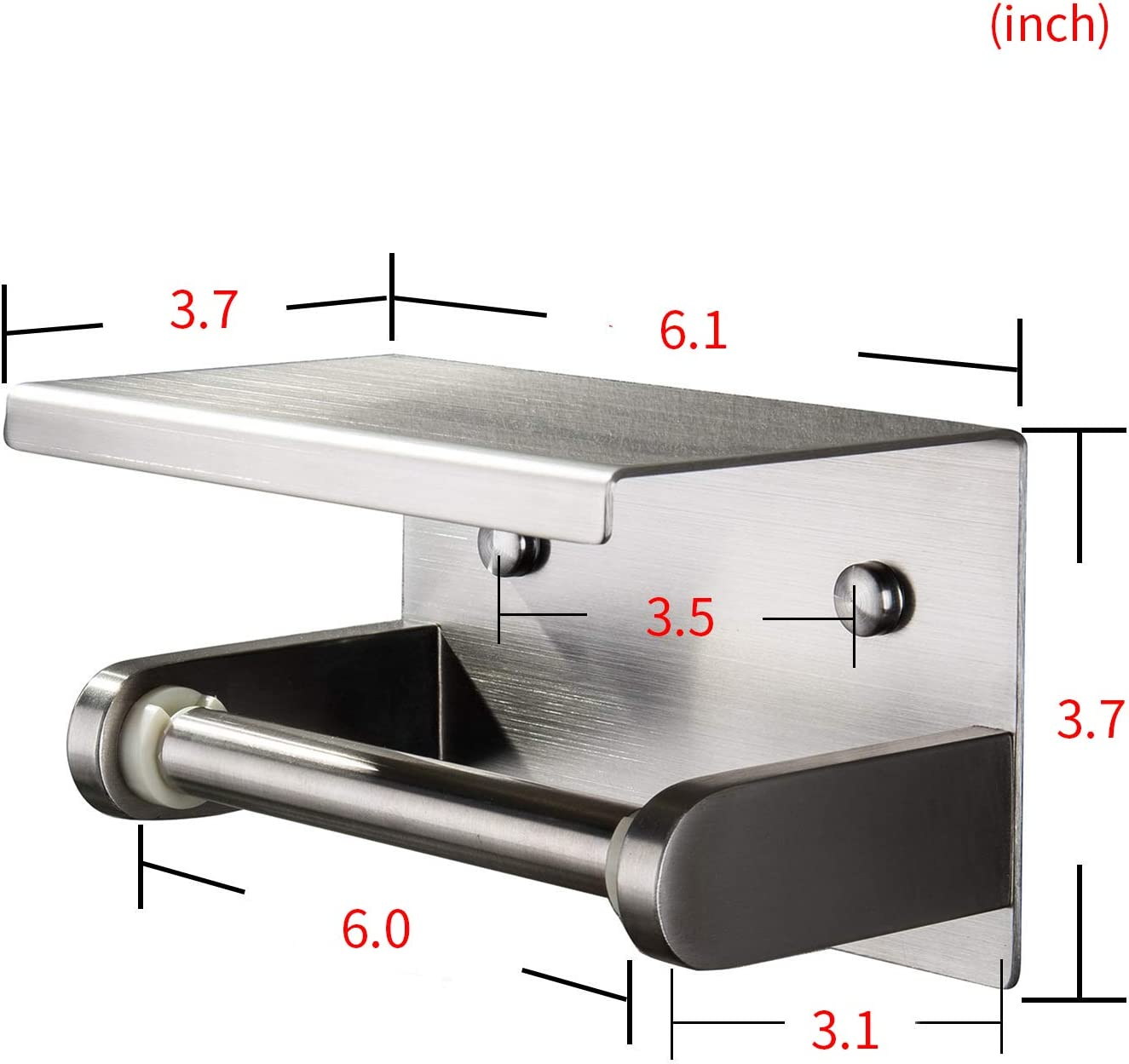 YIGII Toilet Paper Holder with Shelf Stainless Steel Toilet Roll Holder Self Adhesive or Wall Mounted for Bathroom