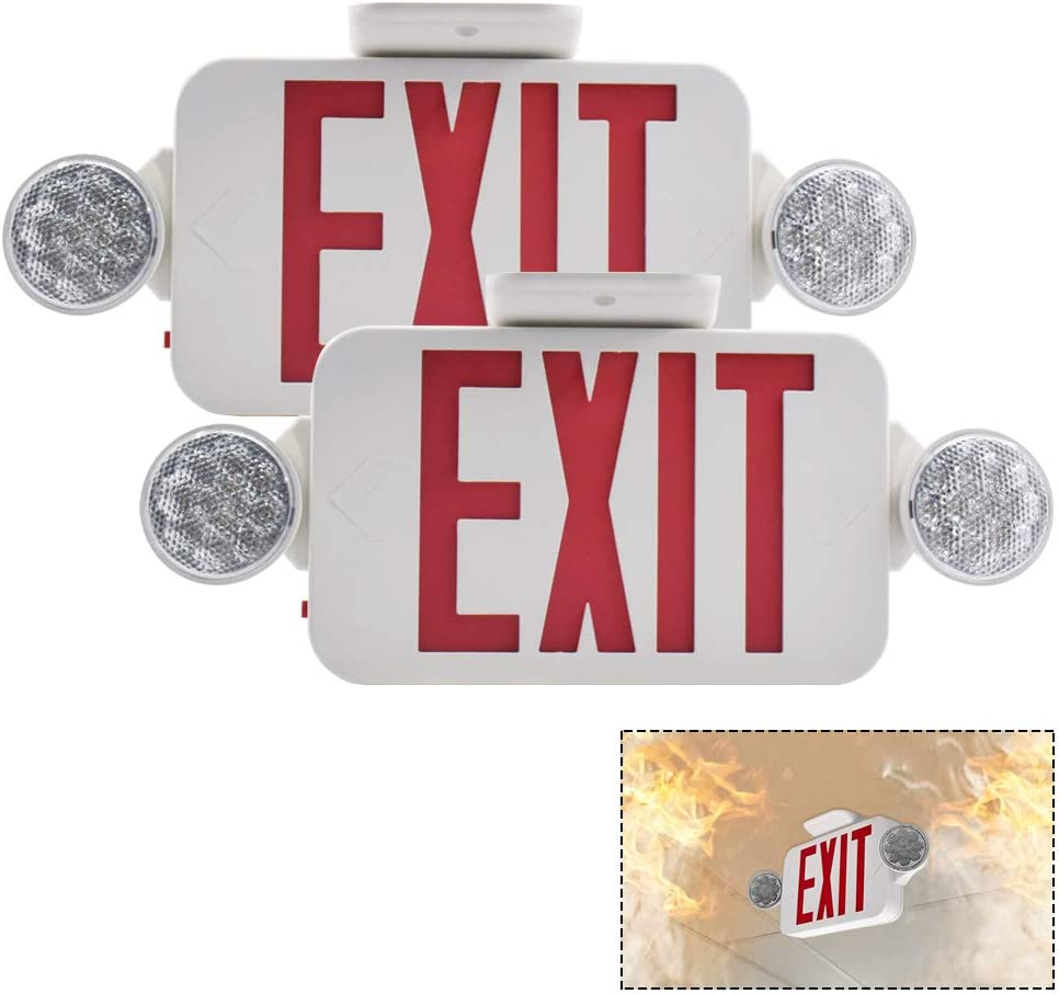 【2 Pack】UL Certified EXIT Sign with Emergency Light Red EXIT Compact Combo Hardwired High Output 61oTfcXccRL