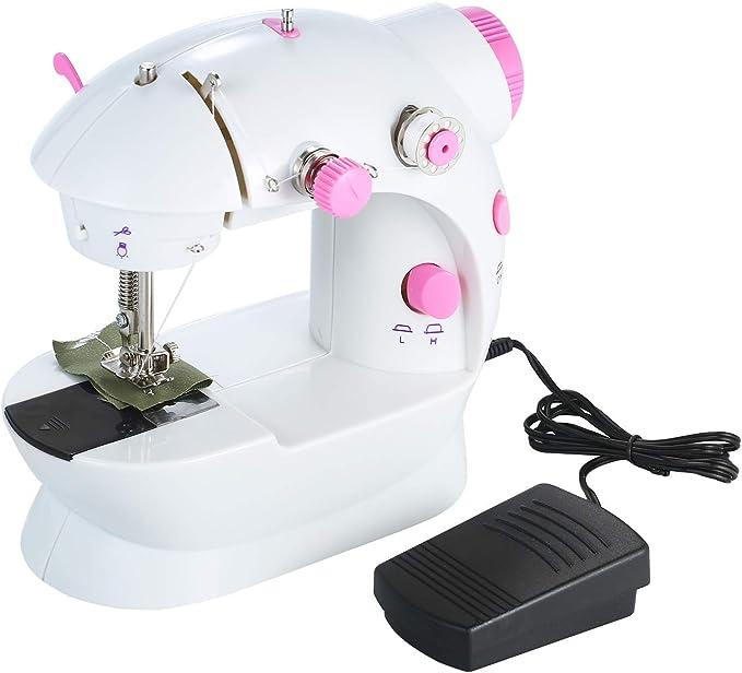 Decdeal Mini Máquina de Coser Ajustable de 2 Velocidades de Doble Hilo Portátil Eléctrico para el Hogar Multifunción con Luces y Pedal de Corte: Amazon.es: Hogar