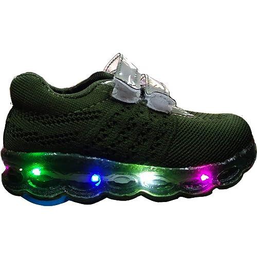 Zapatillas de Luces led Impacto Unisex del 21-26 (21 EU, Verde)
